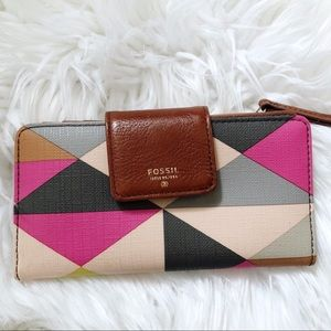Fossil Geometric Leather Card Holder Wallet